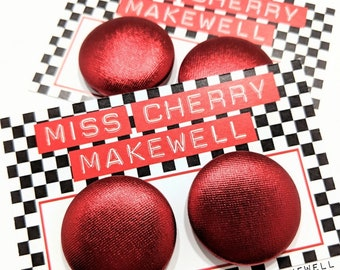 Metallic Red Shimmer Fabric Button Rockabilly 1950's Pin Up Retro Vintage Inspired Earrings By Miss Cherry Makewell