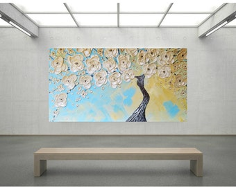 Impasto Acrylic Painting Palette Knife Brush White, Blue and Yellow Tree of Life Large stretched canvas