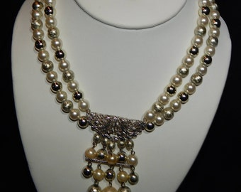 Vintage Bead Choker Necklace Silver and White Beaded Bib Choker Necklace