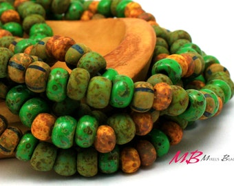 Aged Matte Jade Striped Picasso Mix, 32/0 and 1/0 Rustic Tribal Beads, Seed Beads