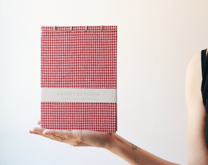 Handmade notebook, japanese bookbinding, bookbinding, red notebook, summer notebook, red vichy notebook, made in barcelona, minimal notebook