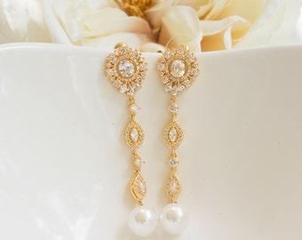 Yellow Gold Earrings | Long Earrings | Bridal Earrings | Pearl Earrings | Bridal Jewelry | Pearl Dangle Earrings | Weddings