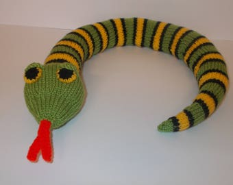 Hand Knitted Snake Toy, Stuffed Snake Toy, Hand Knit, Children's Toy, Knitted Soft Toy, Soft Toy, Snake Toy, Hand Knit Animal, Snake, Gift