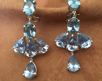 Blue Topaz Earrings- Blue Topaz Gemstone Earrings- 925 Sterling Silver Dangle Earrings with Blue Topaz- Jewelry Handmade in USA .