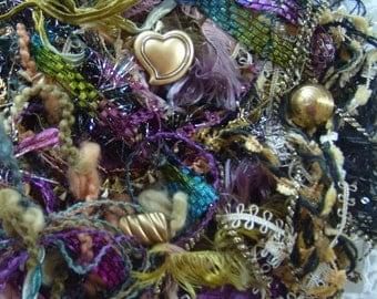 "Fiber art yarn bundle ""Gypsy Parlor""/ 4 buttons+ 24yds./ mixed trim bundle/embellishment trim/mixed media DIY/junk journal/fiber collage"