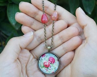Red cameo flower pendant Art pendant Botanical necklace Flower lover jewelry Gardener gifts for mom Art teacher necklace Jane Austen Jewelry