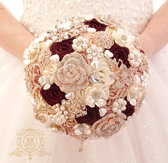 Champagne Burgundy Brooch Bouquet. Rose Gold Jeweled Wedding