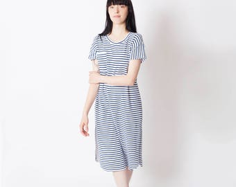 Nautical dress, blue & white dress, Beach dress ,stripe dress, long T shirt dress, striped dress, loose dress, casual dress