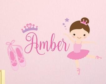 Ballerina theme wall decals for bedroom. Girls bedroom wall vinyl. Bedroom wall decor, kids wall decals. Ballerina design. Personalized