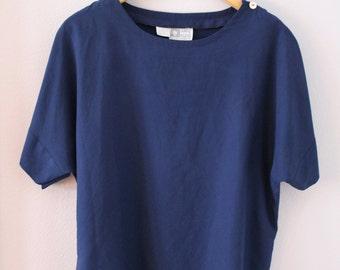 90s Minimalist Anne Klein Silky Navy Blue Button Sleeve Blouse