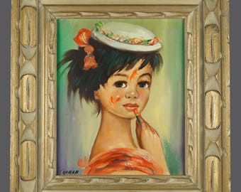 Vintage Oil Painting Young Girl Applying Lipstick Portrait Child Vintage Art On Canvas 16 x 18