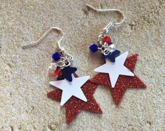 Patriotic Earrings, 4th of July Earrings, Red and Blue Earrings, Jewelry, Womens Jewelry