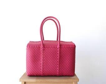 Pink Handwoven Mexican Bag, Mexican Plastic Handbag, Oaxaca Tote, Mexican Plastic Bag, Mexican Basket, Mexican Art, MexiMexi, Picnic Basket