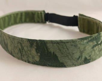 Adjustable non-slip Headband hairband made with vintage silk kimono fabric - green tie-dye swirl