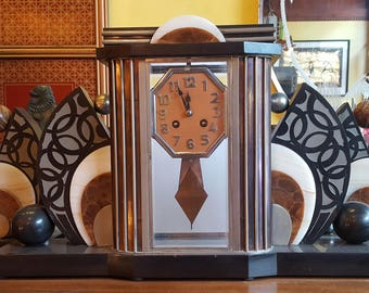 French Art Deco Clock Three Piece Garniture Set Marble Stone Glass And Metal  1920s 20u0027s Gatsby