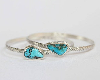 Candeleria Turquoise Bangle, Stacking Bangle, December Birthstone, Sterling Silver, Natural Turquoise Bracelet, Silversmith Jewelry