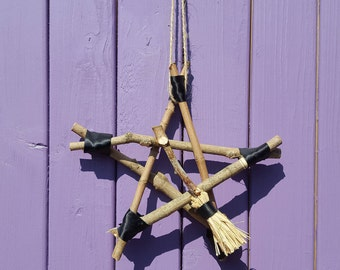 Besom Pentagram, Miniature Broomstick, Wooden Pentacle, Witch Charm, Pagan Amulet, Wiccan Home Decor, Wall Hanging, Altar Protection