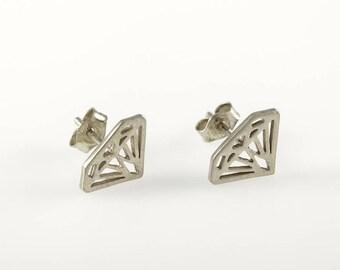 White gold earrings, Statement earrings, Diamond shape earrings, 14K stud earrings, Gold Studs, Gold diamond earring