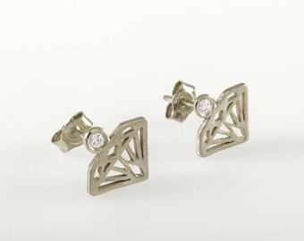 Gold Stud Earrings,14k Stud Earrings, Diamond stud earrings, gold earring,diamond earring,diamond shaped earrings, Diamond shape