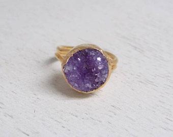 Druzy Ring, Purple Druzy Ring, Crystal Ring, Large Gemstone Ring, Gold Ring, Boho Ring, Adjustable Ring, Statement Ring Christmas Gift D3-04