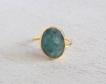 Emerald Ring, Gold Emerald Ring, Green Stone Ring, Gemstone Ring, Small Stone Ring, Statement Ring, Adjustable Ring, Gift for Her, D3-69