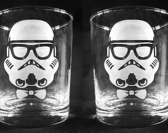 TROOPSTER (Hipster Stormtrooper) Custom Etched Whiskey Style Glasses - Set of 2!