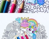 Baby Unicorn Birthday Party coloring page - printable mandala coloring for adults and big kids - baby shower, magical first birthday