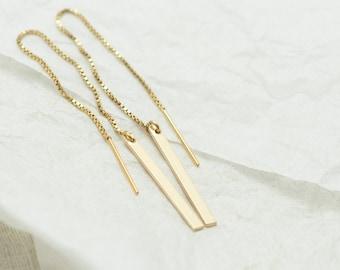 Simple Earrings Gift - Bar Earrings - Long Line Earrings - 14kt Gold Filled Earrings - Gifts for Her