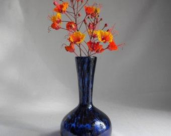 Cobalt Blue Art Glass Bud Vase with Purple Spots - Streaks, Hand Blown Glass, Pontil on Bottom