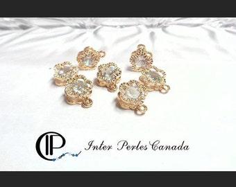 10pcs fleur zircon cristal clair ab 7mm breloque en alliage, ou, 14x10x5mm, trou 1mm