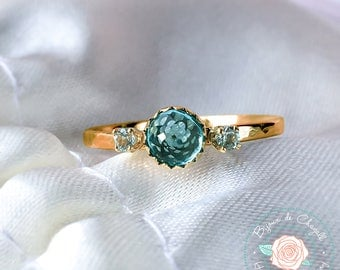 Rare Paraiba Apatite Gold ring, Natural Apatite & Sky Blue Topaz ring, 14K solid Gold ring, Handcrafted Engagement ring.