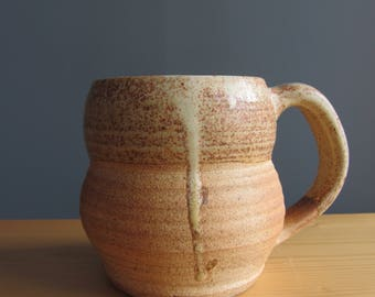 Woodfired pottery mug, handmade pottery mug, yellow coffee cup, homemade pottery