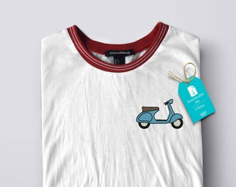 Vespa - Machine Embroidery file- blue vintage scooter - instant download