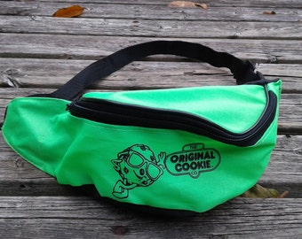 "Vintage 80's / 90's Fanny Pack / Waist Bag / Neon Slimer Green and Black ""The Original Cookie Company"""