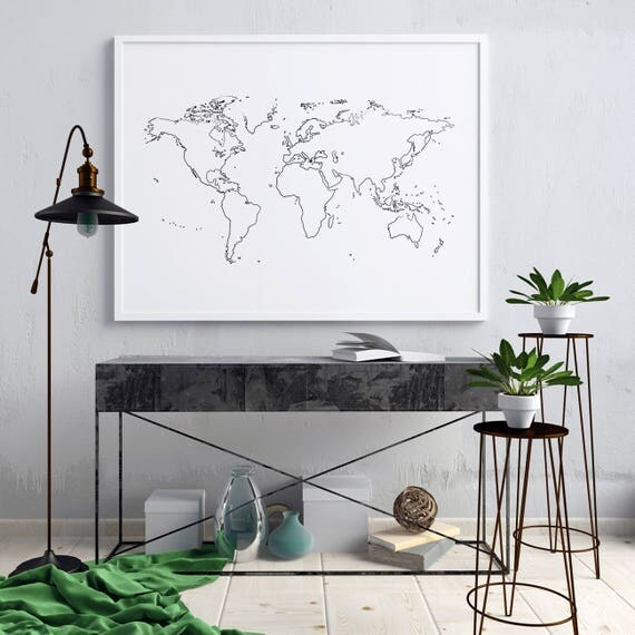 Outline world map outline white world map wall decor world like this item gumiabroncs Choice Image