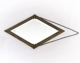 Charming Unusual French Vintage Little Wall Art Deco Mirror with Ornaments, Lozenge Shape, Beveled Glass, Rococo, Home Decor, France, 1940s