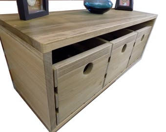 Floating Shelf with Crate Drawers / Rustic / Storage / Display / Entry / Hallway / Entertainment Center