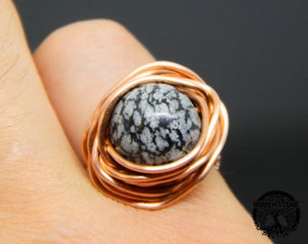 Wire wrapped ring Snowy obsidian ring Copper ring Steampunk ring Wire wrap ring Mens ring Womens ring Magic ring Best gift For her For him