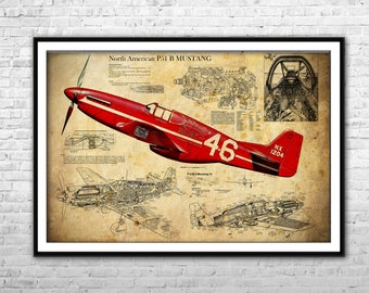 P 51 blueprint art etsy north american aviation mustang p 51 fighter bomber blueprint archival paper and canvas roll malvernweather Gallery