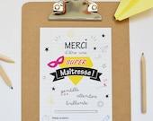 Carte illustrée SUPER MAÎTRESSE // Carte cadeau de fin d'année pour les maîtresses au format A6, carte de remerciements, carte message