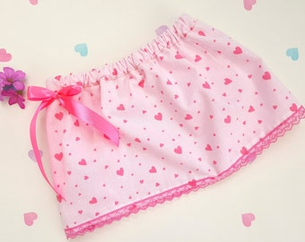 Baby Girl Skirt, Love Heart Skirt, Pink Baby Skirt, Kids Clothing, Heart Print Skirt, Baby Skirt, Cotton, Elasticated, Pink Bow, Pink Lace
