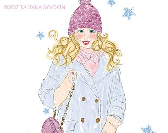 Fashion illustration Oh baby It's cold outside Girl illustration Fashion art print Card for her Blonde girl Winter card Valentines day card