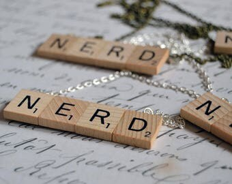Wooden Scrabble Tile * Cute Nerd Necklace * Silver or Bronze Chain