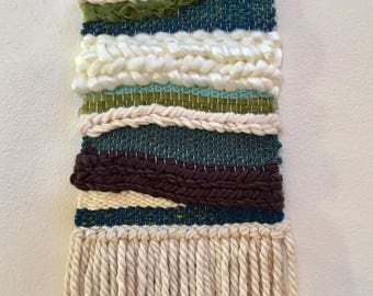 The Green Hills -- Woven Fiber Art