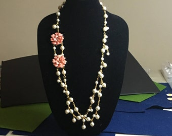 Fantasy Pearls and Flowers necklace by Dobka