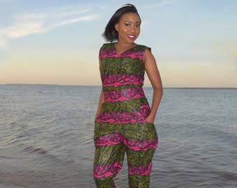 Handmade casual fit black gold and pink jumpsuit in Afrikan print