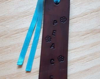 Peace Leather Bookmark, Leather Bookmark, Bookmark