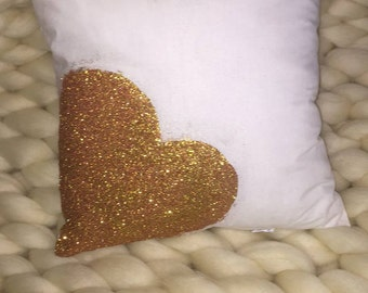Rose Gold GLITTER PILLOW // Throw Pillow, Valentine's Day Gift