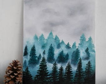 Original forest painting, trees painting on canvas. Forest in fog, mist. Acrylic painting for dreamers, twilight in the morning. Wall art.