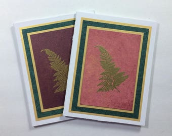 Ferns on burgundy and rose embossed blank cards (set of 2), individually handmade on hand-painted papers: A2, winter, note cards, SKU BLA2
